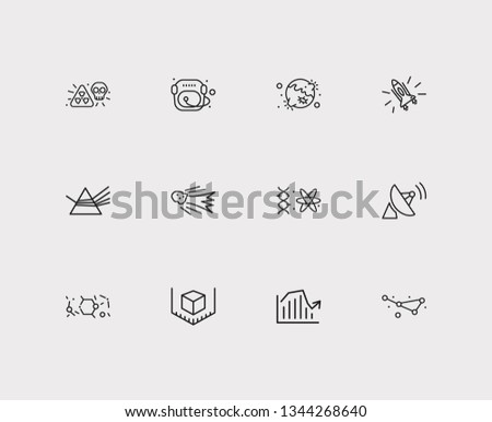 Physics icons set. Condensed matter physics and physics icons with planet with crater, quantum physics and space rocket. Set of moon for web app logo UI design.