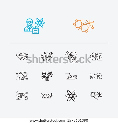 Physics icons set. Cosmology and physics icons with atomic physics, experiments in physics and electrons. Set of moon for web app logo UI design.