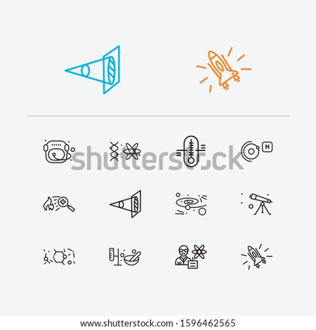 Physics icons set. Cosmology and physics icons with elementary particle physics, optical physics and astronaut helmet. Set of orbit for web app logo UI design.