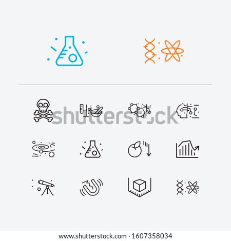 Physics icons set. Quantum physics and physics icons with nanotechnology, danger and gynaecology. Set of model for web app logo UI design.