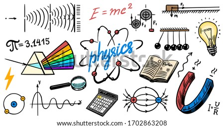 Physics or education concept. Icons and formulas set. Atomic nuclear experiments. spectrum. School test or lab. Hand drawn doodle symbols. Spectrum, Magnetism, Mechanics. Science background or banner