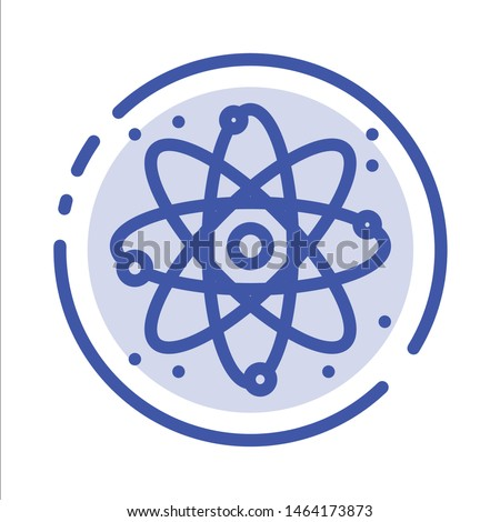 Physics, React, Science Blue Dotted Line Line Icon. Vector Icon Template background