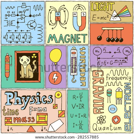 Physics Science Banners set. Color Hand Drawn Vector Illustrations. - stock vector