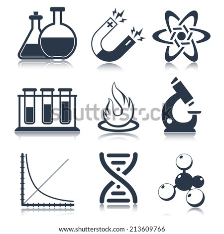 Physics science laboratory equipment black education icons set isolated vector illustration