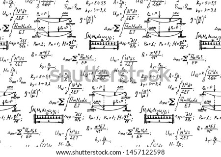 Physics seamless pattern with the equations, figures, schemes, formulas and other calculations on whiteboard. Retro scientific and educational handwritten vector Illustration.