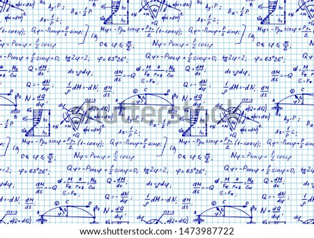 Physics seamless pattern with the equations, figures, schemes, formulas and other calculations on workbook page. Vintage scientific and education  handwritten vector Illustration.