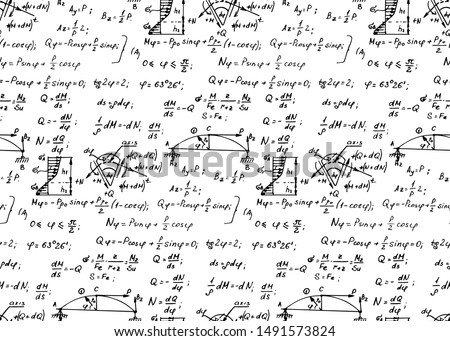 Physics seamless pattern with the equations, figures, schemes, formulas and other calculations on whiteboard. Vintage scientific and educational handwritten vector background.