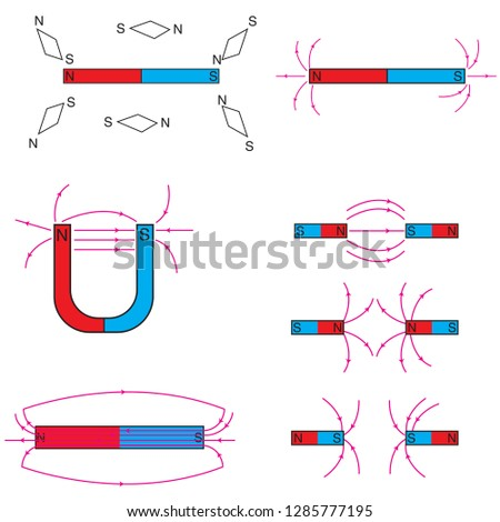 Physics shapes used in courses magnet, push and pull, magnetism, pole, plus and minus, plus, minus, magnetic
