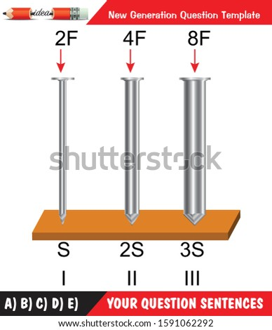 Physics - Surface area, Pressure, nails, surfaces with different structures, iron, New generation, question, for teacher, editable, 3D illustration, eps, vector, idea, design, template