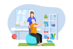 Physiotherapist or rehabilitologist doctor rehabilitates elderly patient. Physiotherapy rehab, injury recovery concept. Vector flat cartoon illustration.