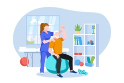 Physiotherapist or rehabilitologist doctor rehabilitates elderly patient. Vector flat cartoon illustration. Physiotherapy rehab, injury recovery and healthcare concept.