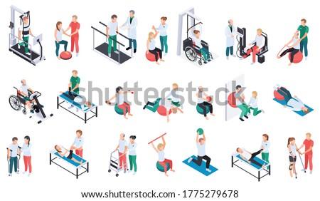 Physiotherapist practice rehabilitation medical center recovery exercises program equipment massage treatment isometric icons set isolated vector illustration Stock photo ©