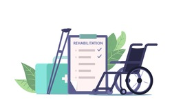 Physiotherapy and Medical Rehabilitation Equipment and Prescription, Wheelchair, Crutches, List with Rehab Procedures for Injured Patient and Medicine Box with Remedy, Cartoon Vector Illustration Icon