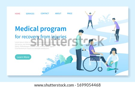 Physiotherapy and rehab clinic patient on wheelchair landing web page template vector. Injury recovery program and rehabilitation center. Medical condition stabilization, website illustration Stock photo ©