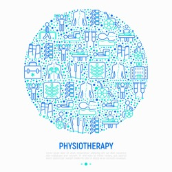 Physiotherapy concept in circle with thin line icons: rehabilitation, physiotherapist, acupuncture, massage, gymnastics, go-carts, vertebrae; x-ray, crutches. Vector illustration, web page template.
