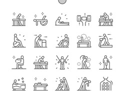 Physiotherapy. Massotherapy and acupuncture. Physical exercise. Rehabilitation. Health care, medical and medicine. Pixel Perfect Vector Thin Line Icons. Simple Minimal Pictogram