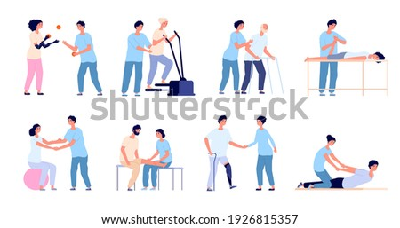 Physiotherapy. Medical treatment, injuries rehabilitation therapy. Healthcare physical training, medicine physiotherapist with patient utter vector set ストックフォト ©