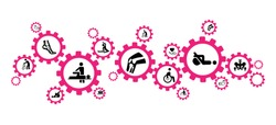 Physiotherapy / physical therapy / orthopedics icon concept - therapy, exercise