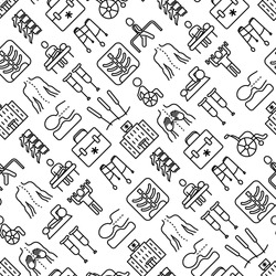 Physiotherapy seamless pattern with thin line icons: rehabilitation, physiotherapist, acupuncture, massage, go-carts, vertebrae, x-ray, trauma, crutches, wheelchair. Vector illustration.