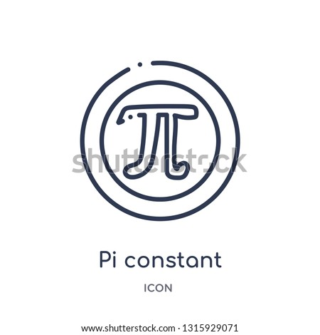 pi constant icon from signs outline collection. Thin line pi constant icon isolated on white background.