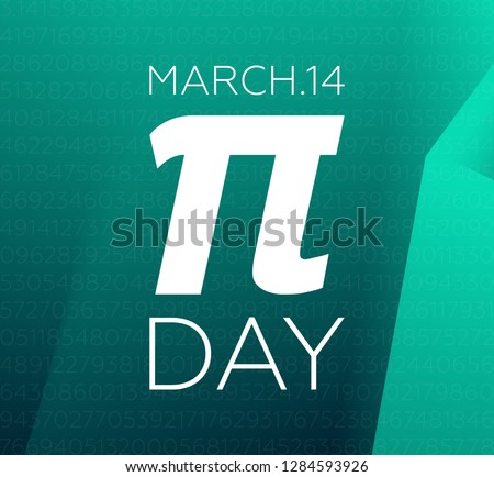 Pi Day March 14. Pi Mathematical constant number. Flat logo. Vector illustration. Simple symbol.
