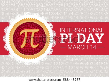 Pi Day vector background. Baked cherry pie with Pi Symbol and ribbon. Mathematical constant, irrational number, greek letter. Abstract digital illustration for March 14th. Poster creative template.