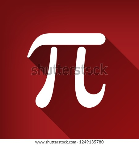 Pi greek letter sign. Vector. White icon with limitless shadow at ruby red background. #1249135780
