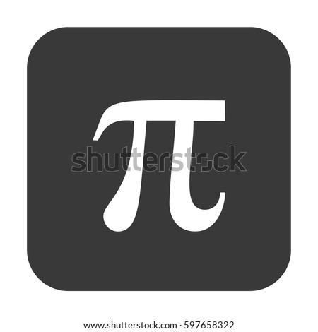 Pi icon vector. Gray button #597658322