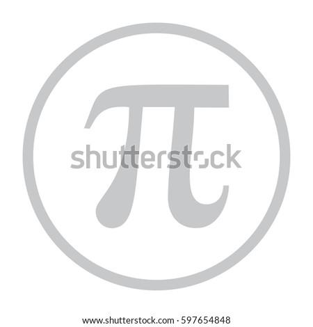 Pi icon vector. Large gray circle #597654848