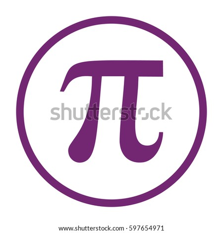 Pi icon vector. Large purple circle #597654971