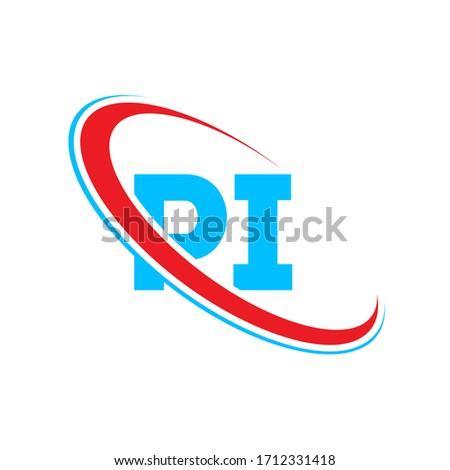 PI P I letter logo design. Initial letter PI linked circle upercase monogram logo red and blue. PI logo, P I design