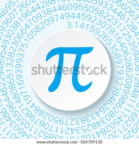 pi sign with a shadow on a blue