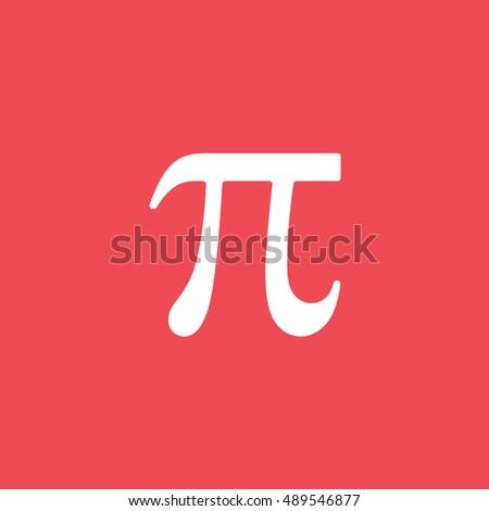 Pi Symbol Flat Icon On Red Background #489546877