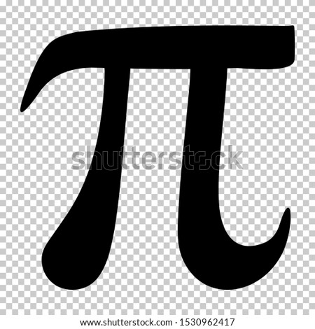 Pi symbol isolated on transparent background. Standard design pi symbol for your banner and poster. Archimedes' constant vector graphic.