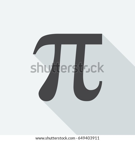 Pi symbol with long shadow on white background. Black symbol in a flat design style. Vector illustration, easy to edit. #649403911