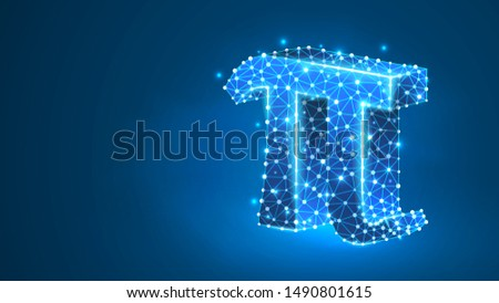 Pi, the letter of a Greek alphabet. Greek numerals, mathematical number eighty concept. Abstract, digital, wireframe, low poly mesh, vector blue neon 3d illustration. Triangle, line dot