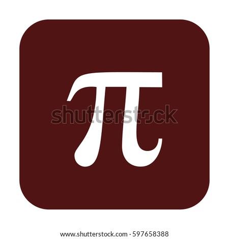 Pi vector icon. Brown button #597658388