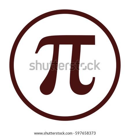 Pi vector icon. Large brown circle #597658373