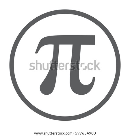 Pi vector icon. Large gray circle #597654980