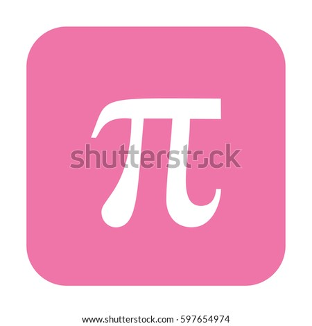 Pi vector icon. Large pink button #597654974