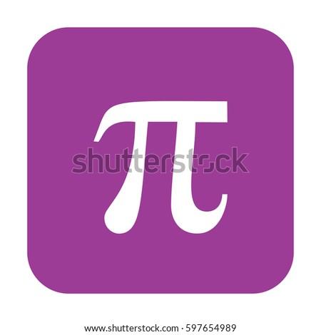 Pi vector icon. Large purple button #597654989