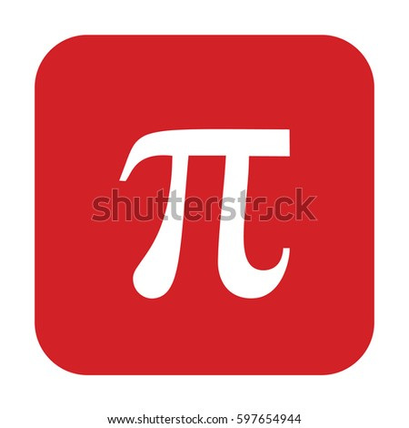 Pi vector icon. Large red button #597654944