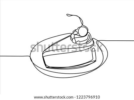 Piace of cake. Continuous line Stock fotó ©