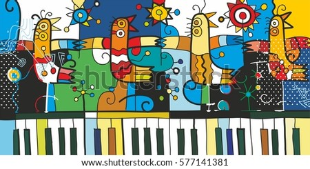 piano and birds graphic