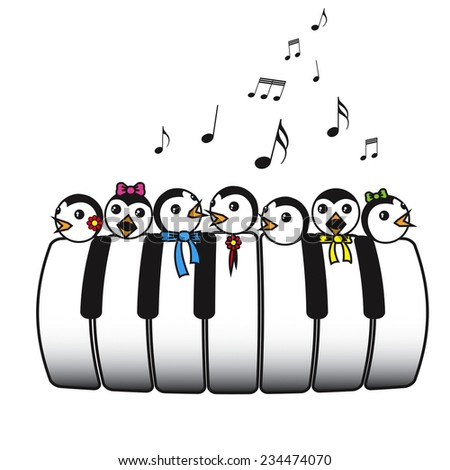 Piano choir of penguins