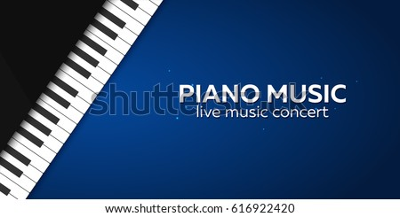 Piano concert poster design. Live music concert. Piano keys. Vector illustration