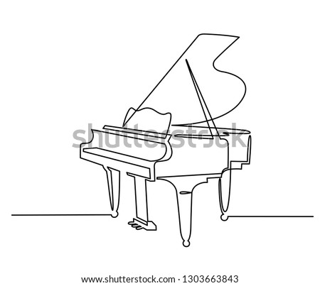 Piano continuous one line vector drawing. Pianoforte hand drawn silhouette clipart. Acoustic musical instrument sketch. Grand piano minimalistic contour illustration. Isolated linear design element