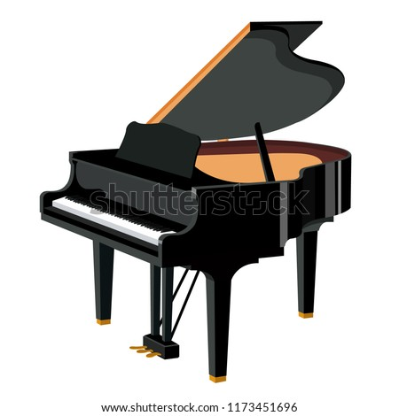 Piano, grand piano. Music, pianist. Musical instrument. Black shiny grand piano. Modern vector flat design image isolated on white background. Photo stock ©