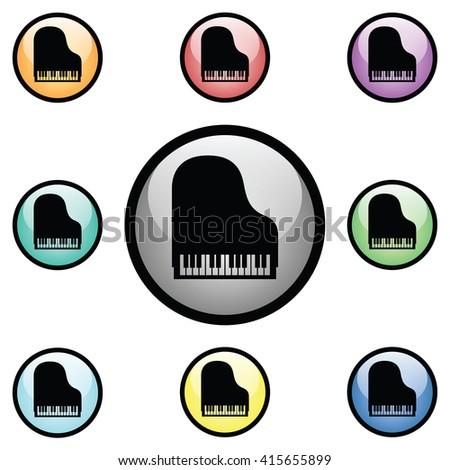 piano icon glass button icon set