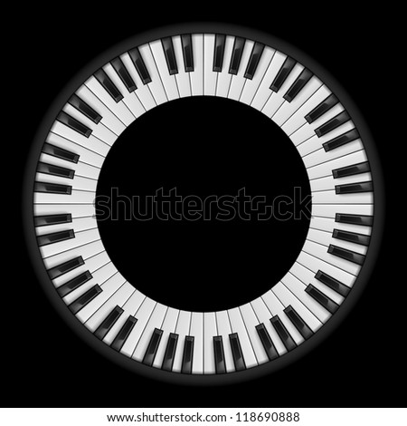 Piano keys. Circular illustration, for creative design on black